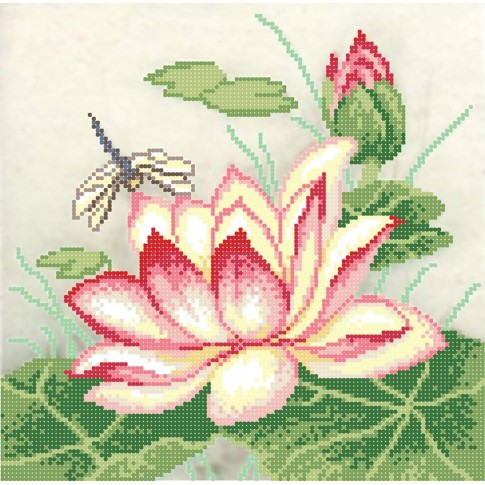 "Bead embroidery pattern ""Pink Lotus"""