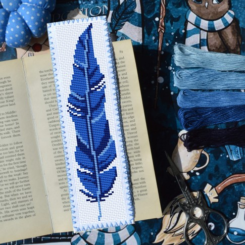 Blue Feather Cross Stitch Bookmark