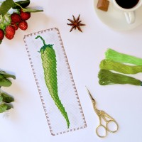 """Green Pepper"" - Cross stitch bookmark kit"