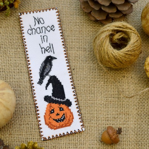 "Cross stitch bookmark kit ""No chance in hell"""