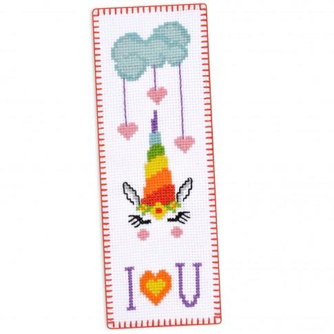"Cross stitch bookmark kit ""Rainbow Unicorn"""