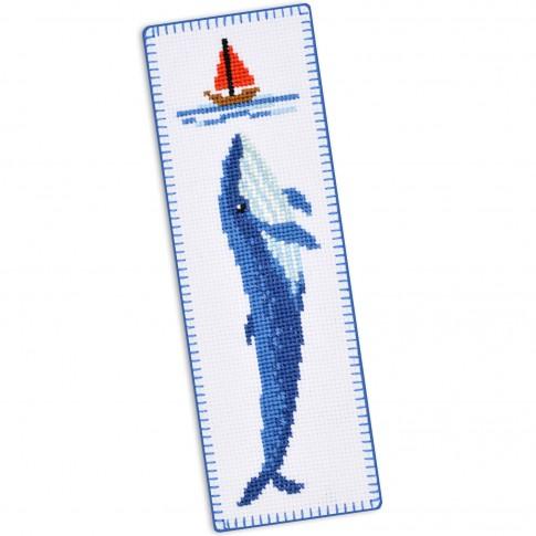 "Cross stitch bookmark kit ""Blue whale"""