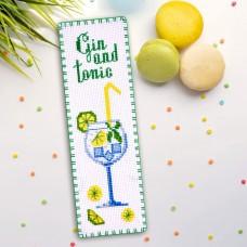 """Gin and tonic"" - Cross stitch bookmark kit"