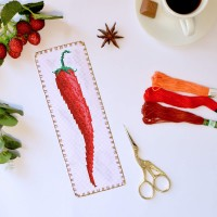 """Red pepper"" - Cross stitch bookmark pattern"