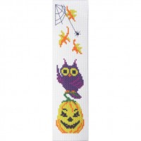 """Halloween Yellow pumpkin"" - Cross stitch bookmark"