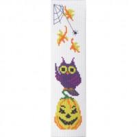 """Halloween Yellow pumpkin"" - Cross stitch bookmark"