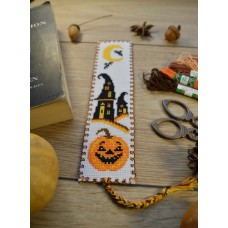 """Halloween pumpkin"" - Cross stitch bookmark"