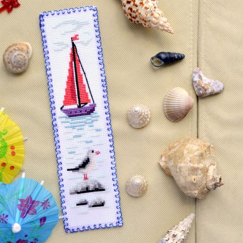 "Cross stitch bookmark ""Sailing ship"""