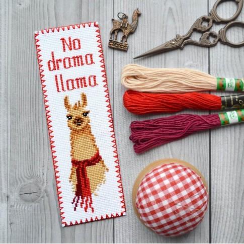 "Cross stitch bookmark kit ""No drama Llama"""