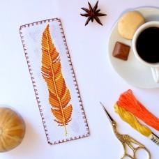 """Yellow feather"" - Cross stitch bookmark pattern"