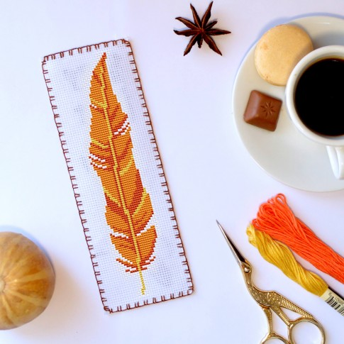 "Cross stitch bookmark pattern ""Yellow feather"""