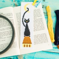 """Black cat"" - Cross stitch bookmark kit"