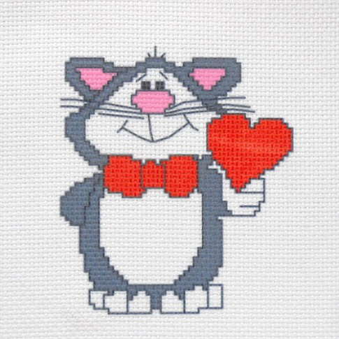 "Patterned needlework fabric ""Valentine cat"""