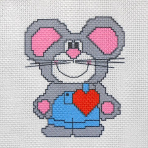 """Patterned needlework fabric """"Mouse in love"""""""