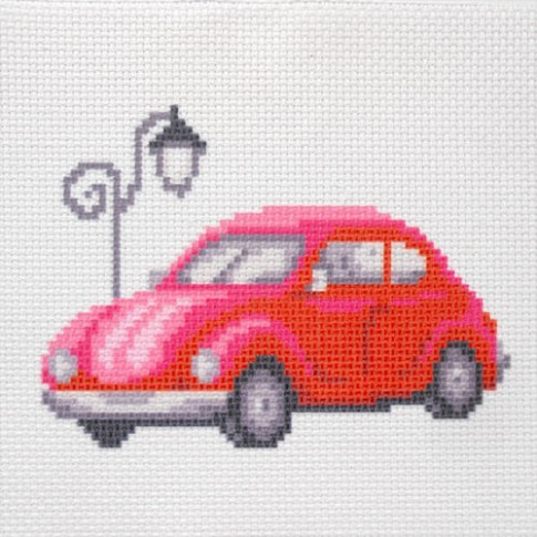 "Patterned needlework fabric ""Red car"""