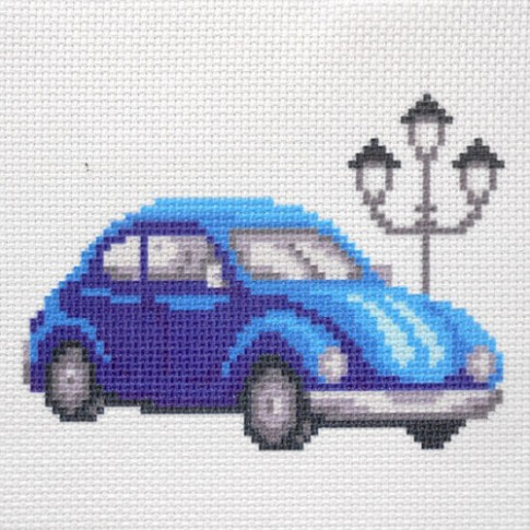 "Patterned needlework fabric ""Blue car"""