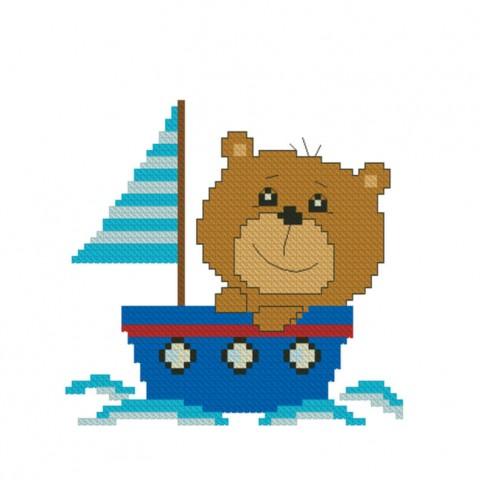 "Patterned needlework fabric ""Bear-toed the Capitan"""