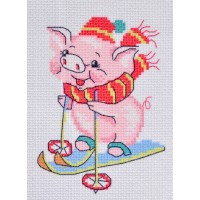 """Skiing"" - Patterned needlework fabric"