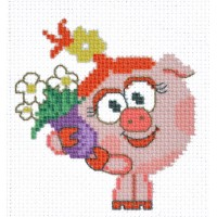 """""""Funny pig"""" - Patterned needlework fabric"""