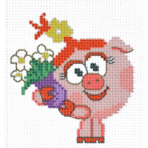 """Patterned needlework fabric """"Funny pig"""""""