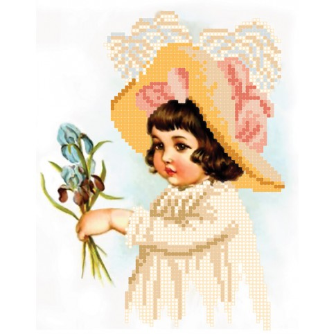 "Bead embroidery pattern ""Girl with irises"""