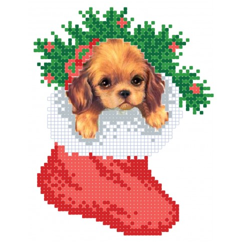 """Bead embroidery pattern """"Puppy in a boot"""""""