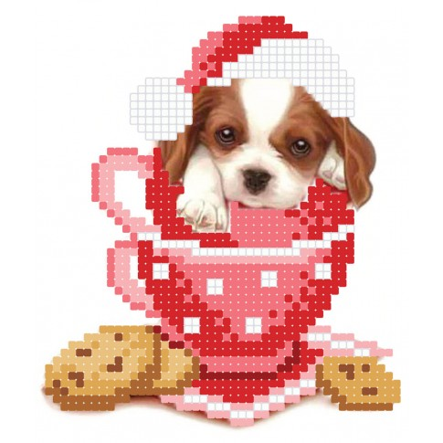 "Bead embroidery pattern ""Puppy in a cup"""