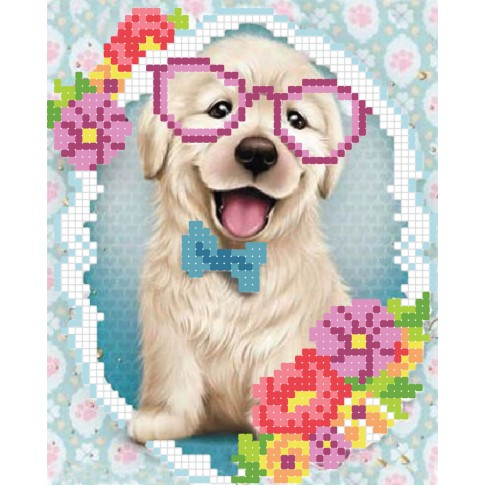 "Bead embroidery pattern ""Puppy in glasses"""