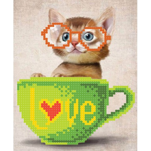 "Bead embroidery pattern ""Kitty in a cup"""