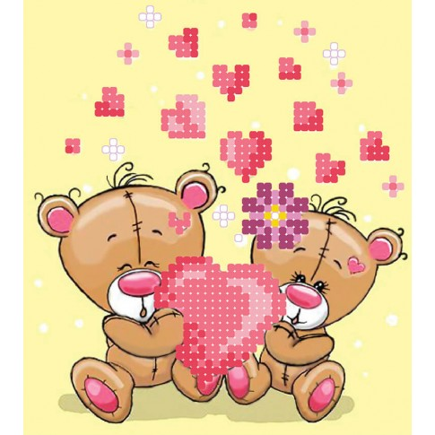 """Bead embroidery pattern """"Bears - valentines"""""""