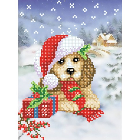 "Bead embroidery pattern ""Christmas puppy"""