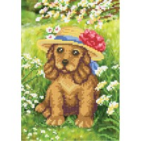 """""""Puppy in flowers"""" - Bead embroidery pattern"""
