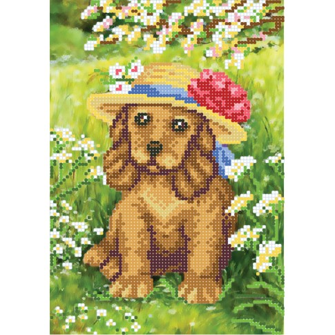 """Bead embroidery pattern """"Puppy in flowers"""""""