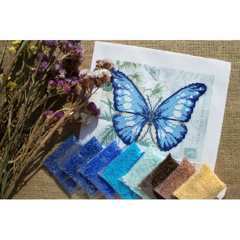 """Bead embroidery pattern """"Blue butterfly"""""""