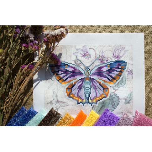 "Bead embroidery pattern ""Lilac butterfly"""