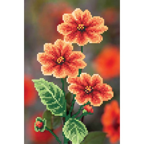 "Bead embroidery pattern ""Red Dahlia"""