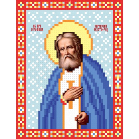 "Bead embroidery pattern of icon ""Saint Seraphim of Sarov"""