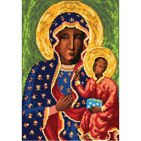 "Bead embroidery pattern of icon ""Our Lady of Częstochow"""