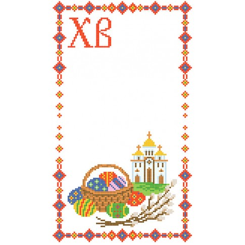 "Bead embroidery pattern of easter towel ""Temple"""