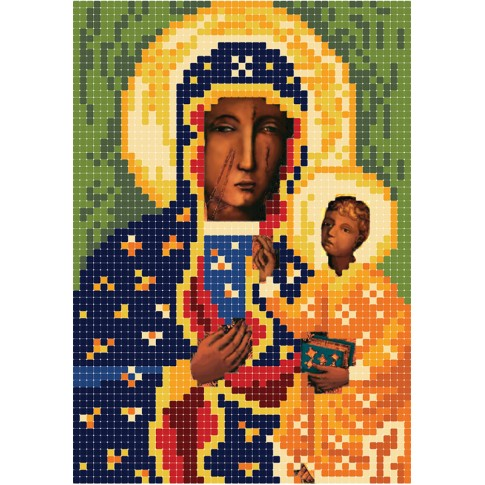"Bead embroidery pattern of icon ""The Black Madonna of Częstochowa"""
