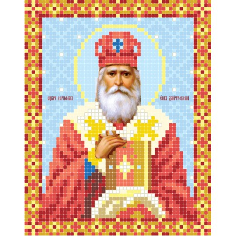 """Bead embroidery pattern of icon """"St. Seraphim, bishop of Dmitrov"""""""