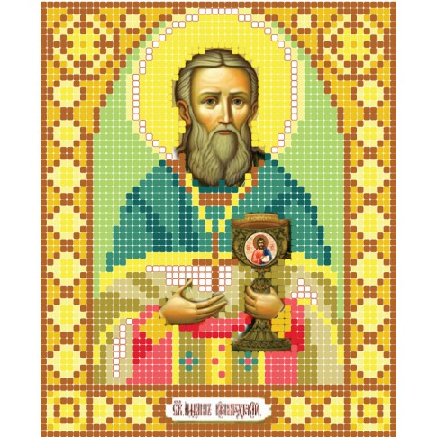 "Bead embroidery pattern of icon ""Saint John of Kronstadt"""