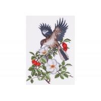 """Bird in a dog rose"" - Cross stitch kit"