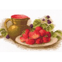 """Still life with strawberries"" - Cross stitch kit"
