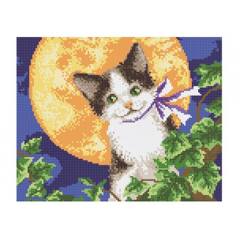 """Bead embroidery pattern """"Lunar cat"""""""