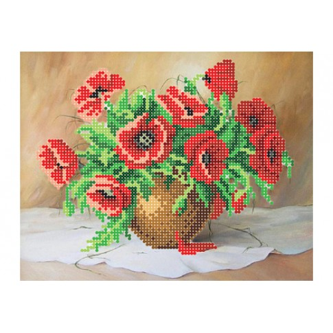 """Bead embroidery pattern """"Bouquet of poppies"""""""
