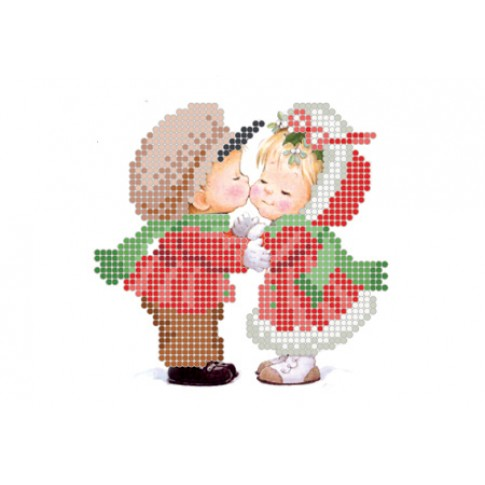 "Bead embroidery pattern ""Christmas kiss"""