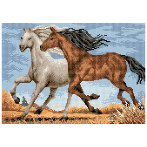 """Bead embroidery pattern """"Running horses"""""""