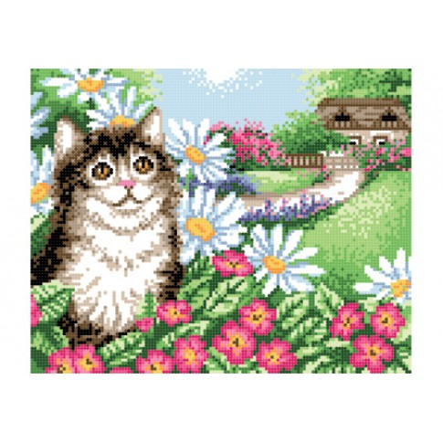 """Bead embroidery pattern """"Cat in flowers"""""""