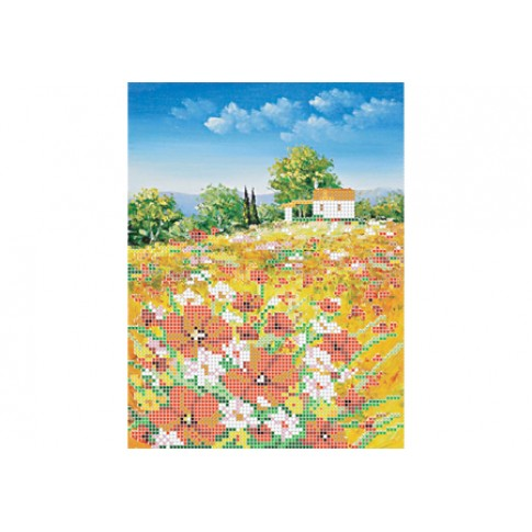 "Bead embroidery pattern ""Field with poppies"""